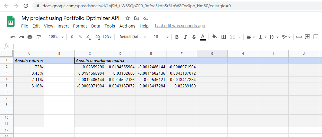 Google Sheets Assets Returns And Covariance